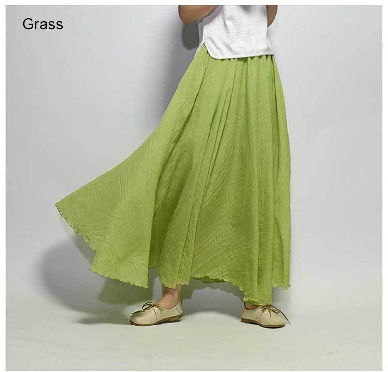 Women's Elegant High Waist Linen Maxi Skirt 2021 Summer Ladies Casual Elastic Waist 2 Layers Skirts saia feminina 20 Colors SK53 4