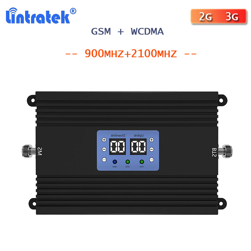 Lintratek 2G 3G Cellular Signal Booster GSM 900 2100 WCDMA UMTS 3G Signal Repeater Call Voice And Data Communitaion Amplifier