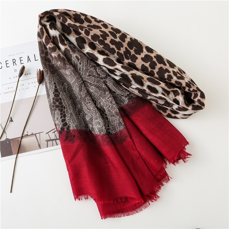 KYQIAO 2020 Women Brand Chic Red Leopard Dot Tassel Viscose Shawl Scarf Print Soft Wrap Pashminas Sjaal Muslim Hijab Snood
