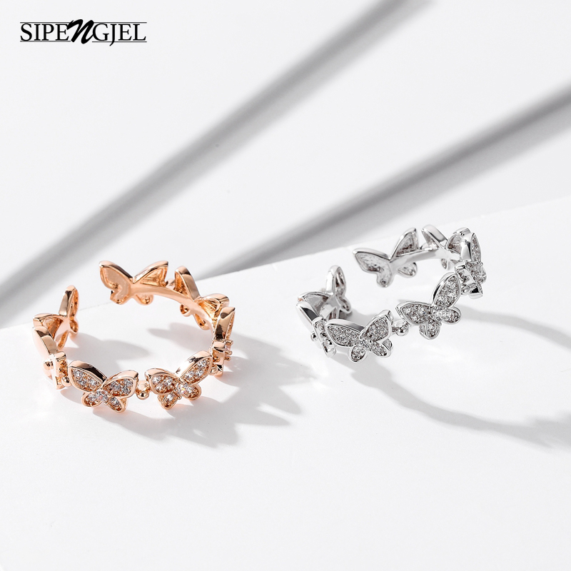 SIPENGJEL Gold Dancing Moving Butterfly Open Rings Dainty Insect Lover Couple Rings For Women Friendship Jewlery 2021