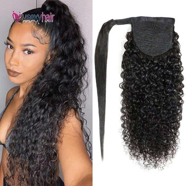 USEXY кудрявые бразильские человеческие волосы обертывание вокруг конского хвоста клип в конский хвост человеческие волосы для наращивания ...