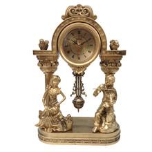 Europejski styl retro zegar salon sypialnia licznik wahadło zegar zegar na biurko tanie tanio WENYULINHUA Z tworzywa sztucznego Antique style T0110 Stoper 110mm Igła Krótkie GEOMETRIC Zegary biurkowe 90mm 220mm 1500g
