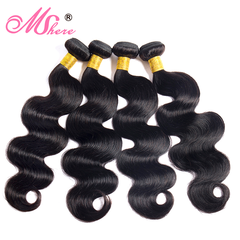 Body Wave Human Hair Bundles Mshere Hair Extensions Peruvian Non Remy Hair Weaves 3/4 PCS Natural Black Color