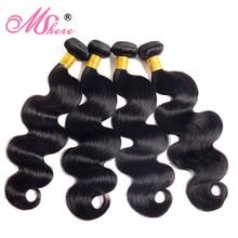 Extensiones de cabello humano con ondas corporales, extensiones de cabello peruano sin Remy, tejidos 3/4 Uds. De Color negro Natural
