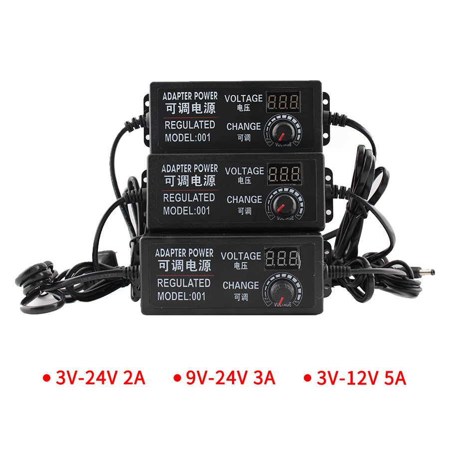 Adjustable Power Supply 3V 9V 12V 24V Adjustable Transformers 220V Universal Adapter Charger AC DC 220V To 12V Display Screen