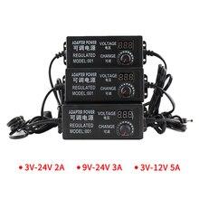 Fonte de alimentação ajustável, transformadores ajustáveis 3v 9v 12v 24v 220v adaptador universal carregador ac dc tela de exibição 220v para 12v