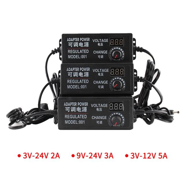 Transformateur dalimentation réglable de 3V, 9V, 12V, 24V, adaptateur universel 220V ca 220V à 12V, écran daffichage