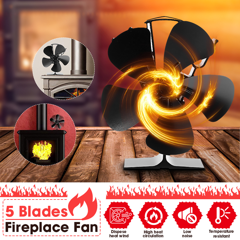 5 Blade 7inch Black Fireplace Magnet Heat Powered Stove Fan Log Wood Burner Eco Friendly Quiet Home Efficient Heat Distribution