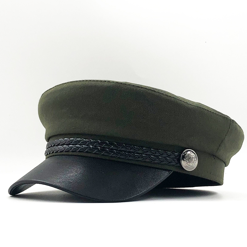 New High Quality Casual Military Cap Man Woman Cotton Beret Flat Hats Captain Cap Trucker Vintage Black Sport Dad Bone Male