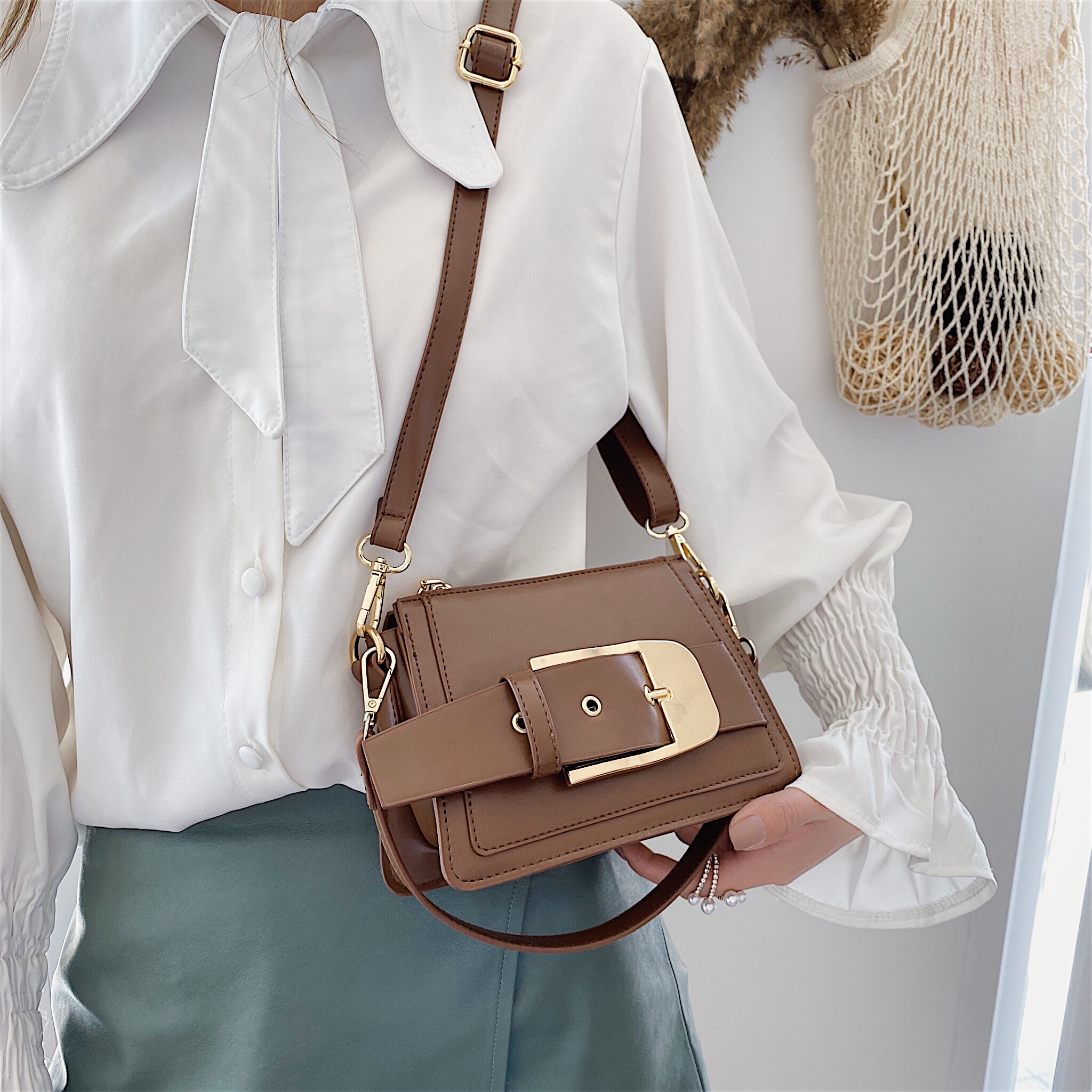 Belt Buckle Pu Leather Crossbody Bags For Women 2020 MINI Travel Shoulder Messenger Handbags Female Travel Cross Body Bag