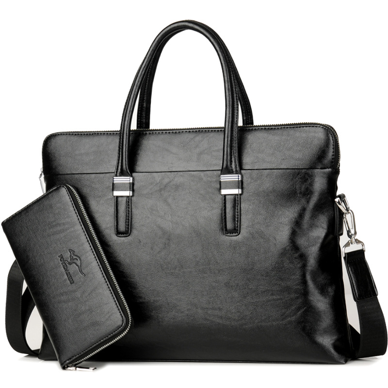 Men's Business Office Briefcase Luxury Brand Leather Handbag Male Computer Laptop Shoulder Bag Large Solid Messenger Tote Casual