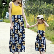 Chivry New Mother Daughter Dresses Sleeveless Patchwork Floral Print Long Dress Mom and Daughter Dress Family Matching Clothes mother daughter dresses sleeveless colorblock long dress mother daughter clothes mom and daughter dress family matching clothes