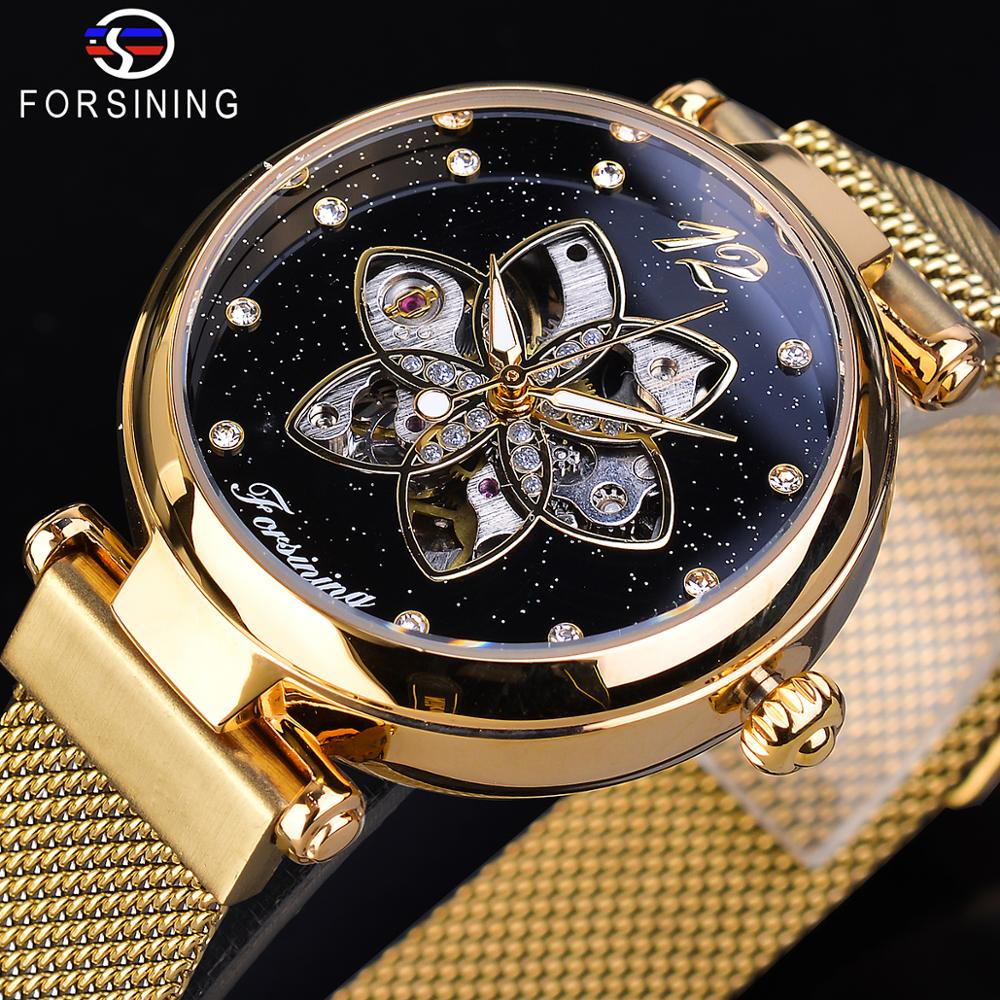 Forsining Mechanical Automatic Womens Watches Top Brand Luxury Diamond Creative Dial Gold Mesh Waterproof Fashion Ladies Watches