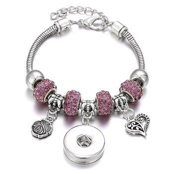 New Snap Bracelets for Women Tree of Life Metal Snap Button Bracelet Bangle Fit 18MM Snap Jewelry Bracelets Beads Making Jewelry 3