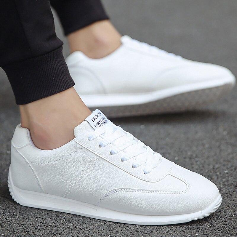 Branco de Couro Confortável para Homens e Meninos Tênis Casual Unissex Sapato