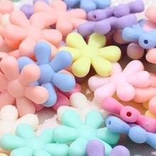 15pcs Color Six-petal Flower Acrylic Beads DIY Matte Loose Making Baby Pacifier Chain Earrings Bracelet Jewelry 12mm