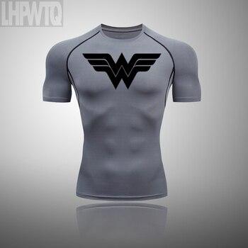 Wonder Woman Men's full Suit Compression Sport Suit Gym joggers Running Short sleeve Shirts leggings Basketball sportwear 26