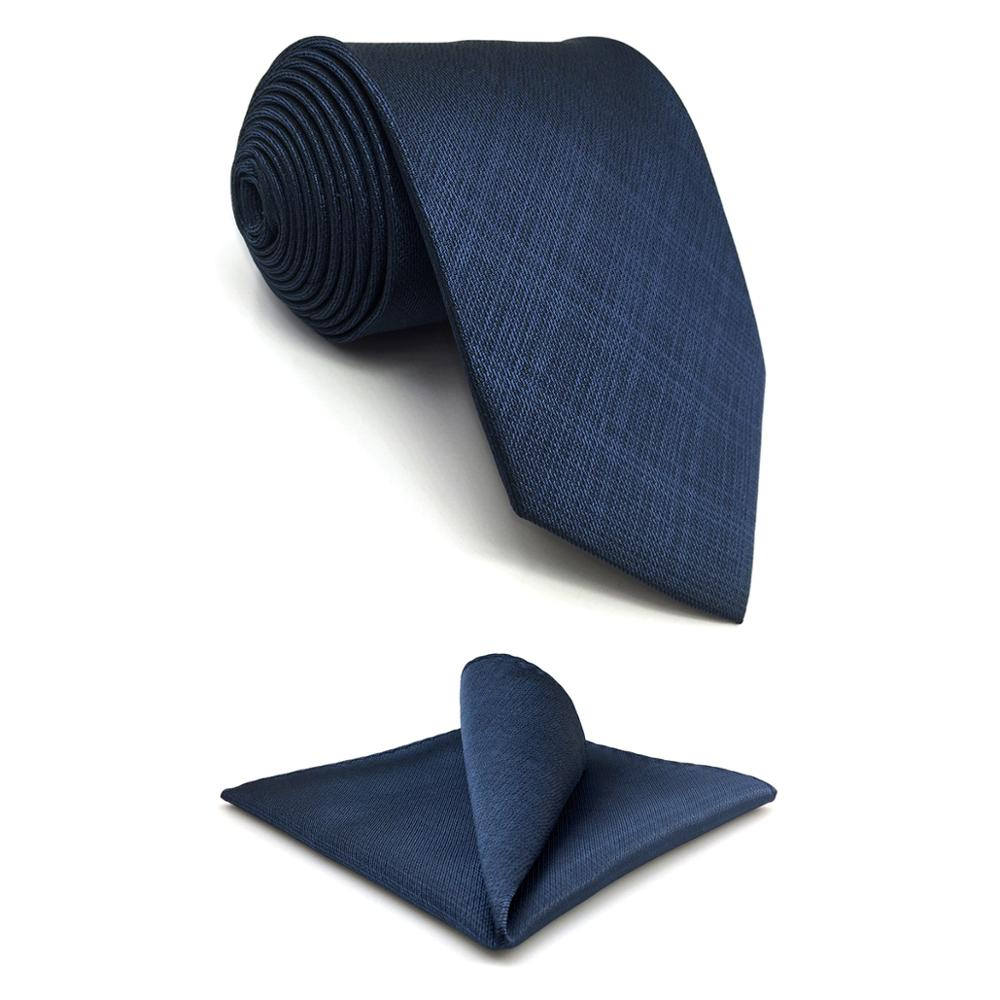 D20 Navy Solid Mens Necktie Set Silk Dress Classic Hanky Ties For Male Wedding Fashion Extra Long Size 63