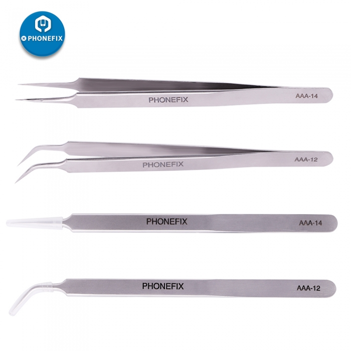 PHONEFIX Stainless Steel Industrial Tweezers Anti-static Precision Maintenance Tools Straight Curved Tweezers Repair Tools