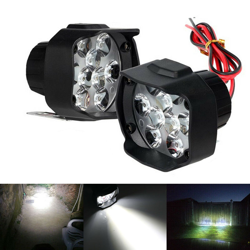 1pcs Motorcycle Headlight 9LED Motorcycle10W  Spot Lights Head Lamp LED Front DC 12V Driving Styling For ATV UTV  Scooter