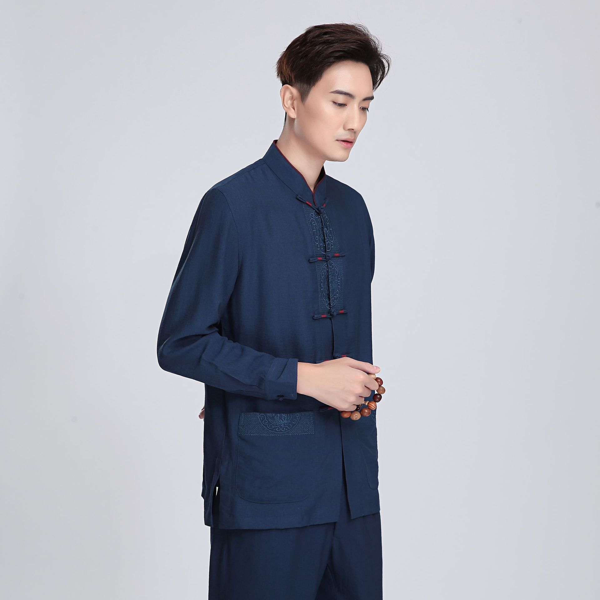 Chinese-style Chinese Style Flax 2814-1 Chinese Costume MEN'S Long Sleeve Top Middle-aged Long-sleeved Shirt/Set