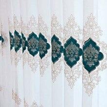 Estilo europeu de veludo bordado tule cortinas para o quarto sala estar gaze cortina sheer para cozinha janela telas