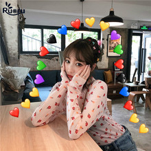 Ruoru Korean Style Women Sexy Harajuku Mesh Tops Net See Through T Shirt Transparent Undershirt Base Top Camisas Femininas