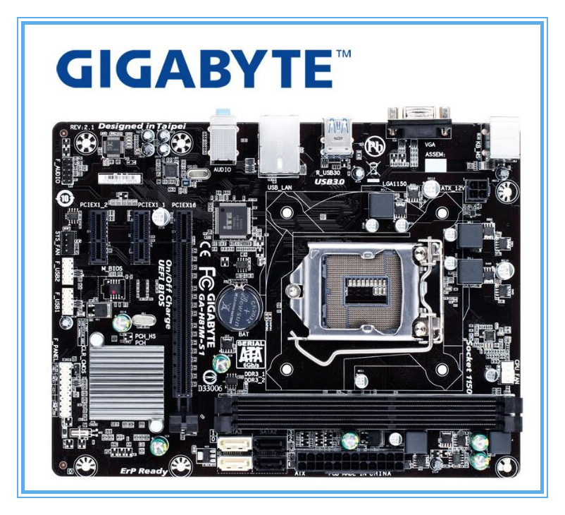Gigabyte GA-H81M-S1 Desktop Original Motherboard H81M-S1 LGA 1150 For Intel I3 I5 I7 DDR3 16G VGA USB2.0 USB3.0 H81 Board
