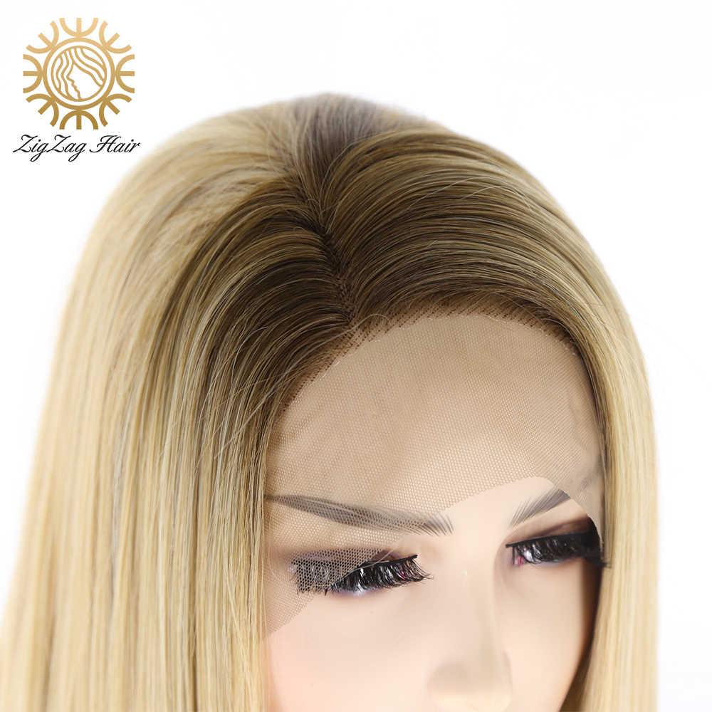 Zigzag ombre brown #4/#27 parte lateral perucas sintéticas da parte dianteira do laço para as mulheres glueless em linha reta diário usar o cabelo resistente ao calor da fibra