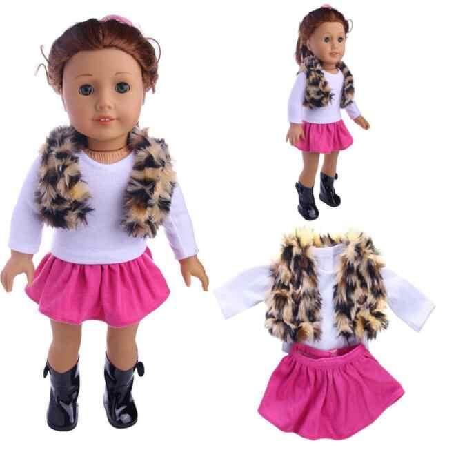 18 インチの女の子の人形素敵なファンシージーンズシャツプリーツスカートドレス 3 個のスーツフィット 43 センチメートルベビードールのため子供のベストギフト