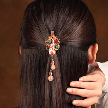Cloisonne Water Drop Hairpin Head Ornaments Chinese Ethnic Hair Jewellery Vintage Barrettes Accessories Hairwear Clip цена и фото
