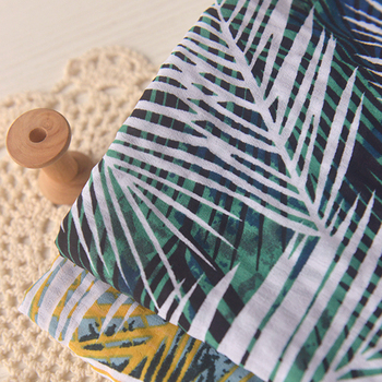 Bohemian style coconut palm leaves dark checked chiffon summer shirt dress child beach clothing fabric checked knot front shirt