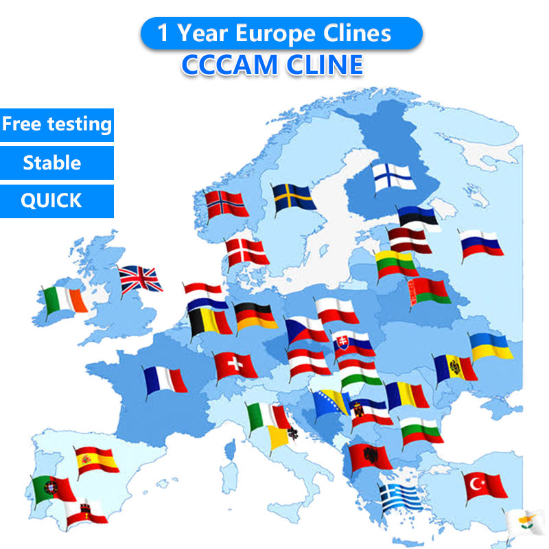 Europe CCCAM For DVB-S2 Receptor Cccam Cline 7 /10lines 1 Year Tv Receiver 4/8lines WIFI FULL HD Support Ccams Free Testing