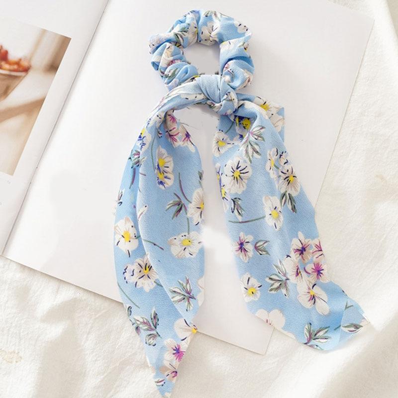 Bohème grande fleur chouchous longs banderoles arc cheveux écharpe femmes filles doux cheveux corde cravates mode cheveux accessoires chapeaux 12