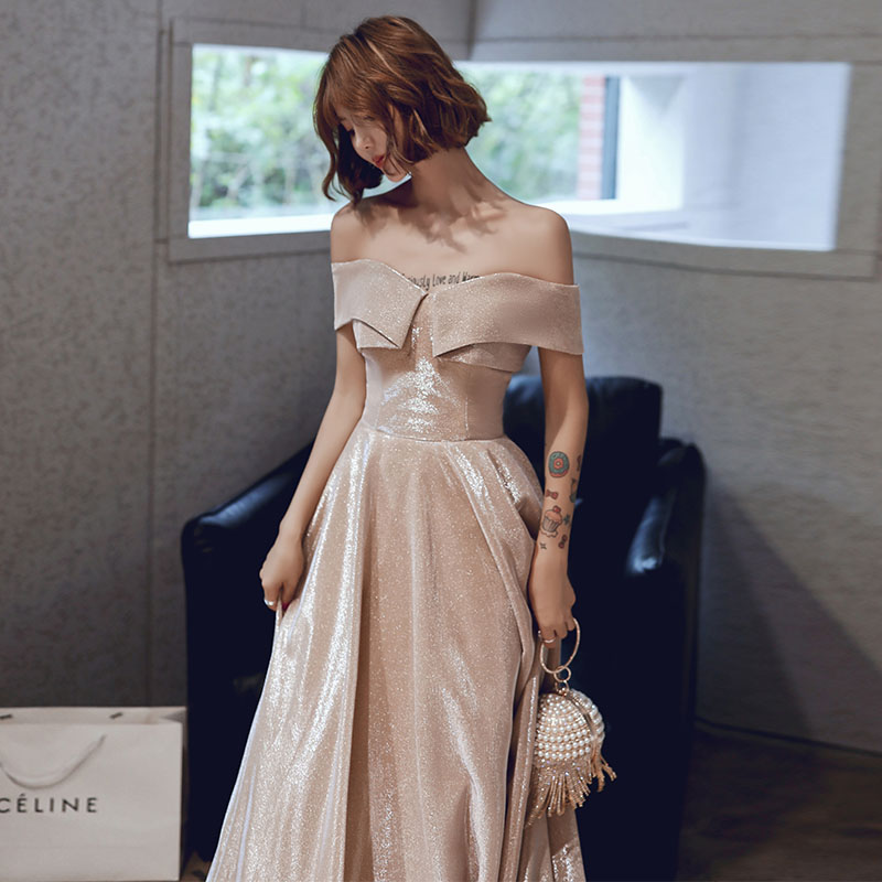 New Sexy Off The Shoulder Evening Dress Long Lace Up Champagne 30cm Little Tail Princess Gown Fashion Party Elegant Promg Gowns
