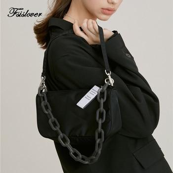 цена на Korea Fashion Baguette Bag Women Messenger Handbags sac Nylon Street Casual Solid Zipper Shoulder Bags Bolsa Mujer 2020 New