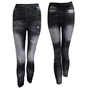 Image 2 - Mới 2020 Phụ Nữ Mùa Thu Quần Legging Giả Jean Skinny Slim Mỏng Cao Co Giãn Quần Bút Chì Đen Denim Quần Legging Nữ Plus kích Thước