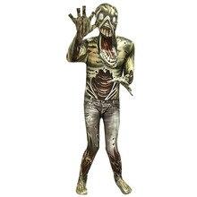 Dzieci Halloween Zombie Monster Cosplay kombinezon zestaw dzieci Masquerade Horror żywy Demon 3D kostium z nadrukiem z nakryciem głowy
