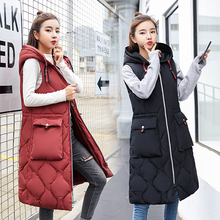 Fashion styled Winter long vest big pocket hooded thick warm waistcoat Casual winter sleeveless parkas jacket cotton padded coat