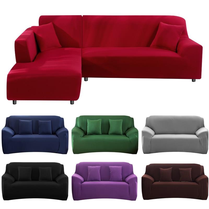 Elasticidade sofá capa extensível sofá capa sofacovers secional cor sólida único/dois/três/quatro assentos l forma precisa comprar 2 peças