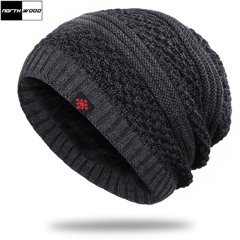 [NORTHWOOD] New Fashion Men's Winter Hat Plus Velvet Warm Beanie Hat Outdoor Knitted Ski Cap Balaclava Men's Winter Hats