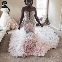 Luxury Mermaid Wedding Dresses for Women Wear lace up back Sweetheart Long Ruffles Train African Black Girls Bridal Gowns 2020