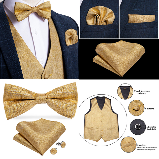 Men's Paisley Silk Waistcoat With Bow-tie ,Handkerchief And Cuff-links