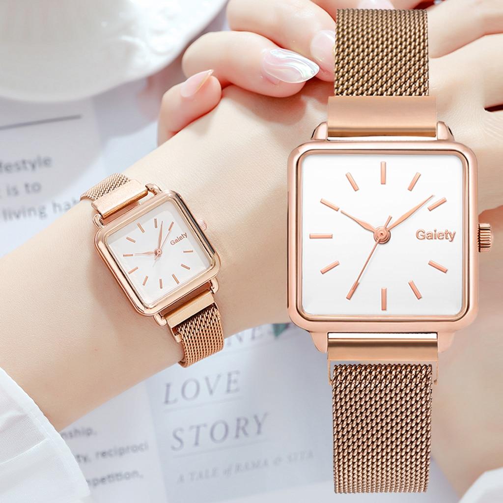 Часы наручные женские кварцевые, модные простые квадратные с магнитным браслетом