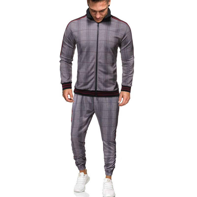 Outdoor Casual Plaid Two-piece Men's Sports Suit Fashion All-match Cardigan Jacket And Sweatpants Sets