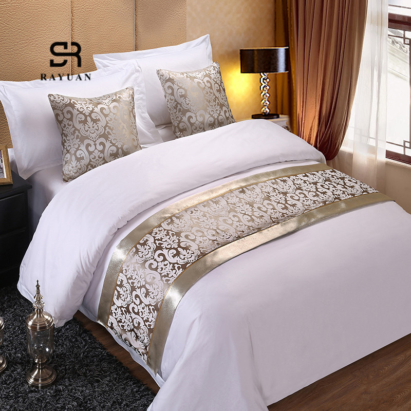 RAYUAN Champagne Floral Bedspreads Bed Runner Throw Bedding Single Queen King Bed Cover Towel Home Hotel Decorations