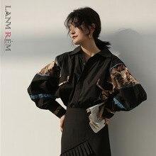 LANMREM 2021 New Fashion autumn Black Print Retro Shirt Female's Batwing Long Sleeve Personlity Blouse Vestido YF70101