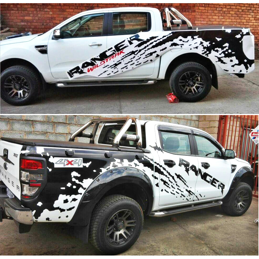car accessories mudslinger ranger with red wildtrack body rear tail side graphic vinyl for Ford or wildtrack2012-2017