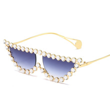 Diamond tiny pearl carter Frame Cat Eye Sunglasses