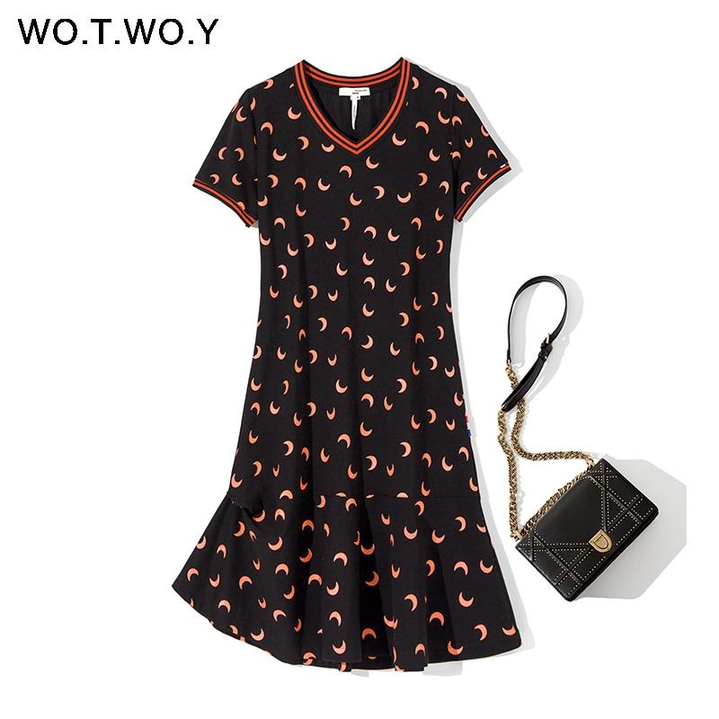 WOTWOY Vintage Moon Printed A-Line Dress Women V-Neck Summer Mini Dresses Female Cotton Casual Dress With Pocket Plus Size M-4XL